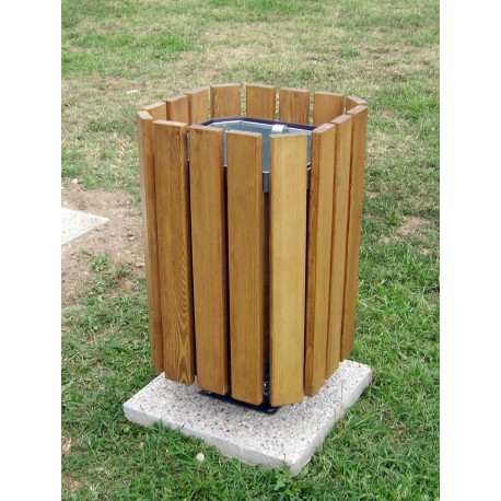 TYPE 2403 TRASH CAN SQUARE STEEL – WOOD