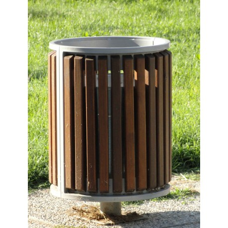 TYPE 2404 TRASH CAN ROUND STEEL – WOOD