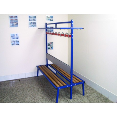 TYPE 8880 BENCH FOR LOCKER ROOM WITH BACKREST AND WARDROBE HOOKS DOUBLE