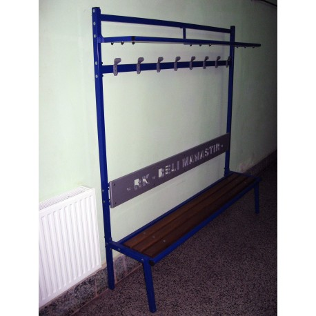TYPE 8881 BENCH FOR LOCKER ROOM WITH BACKREST AND WARDROBE HOOKS