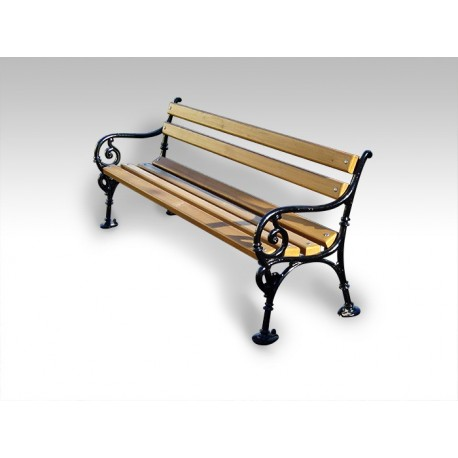 "TYPE 3001 BENCH STEEL – WOOD WITH BACKREST SERIES ""BAROQUE"""