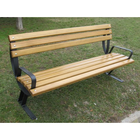 "TYPE 3009 BENCH STEEL – WOOD WITH BACKREST SERIES ""LIBRA"""