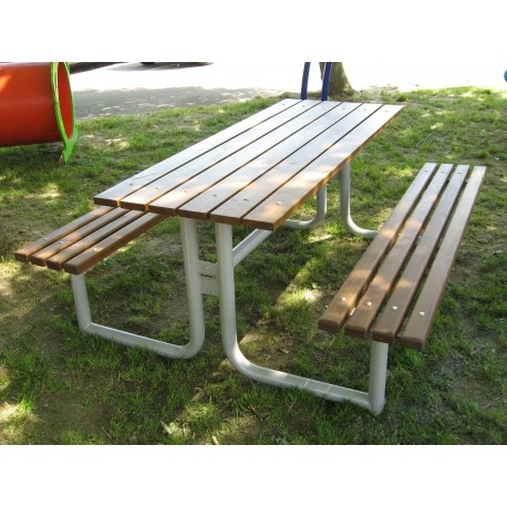 TYPE 3020 TABLE WITH BENCHES STEEL – WOOD