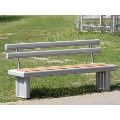 TYPE 3503N BENCH ALUMINIUM – STAINLESS STEEL – WOOD WITH BACKREST
