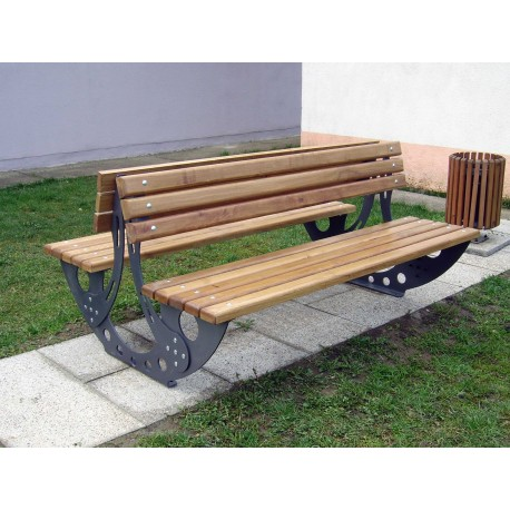 "TYPE 3600N BENCH STEEL – WOOD WITH BACKREST DOUBLE SERIES ""3600"""