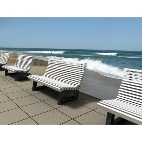 """TYPE 3704 BENCH STEEL – STAINLESS STEEL – WOOD WITH BASE SERIES """"RIVA"""""""
