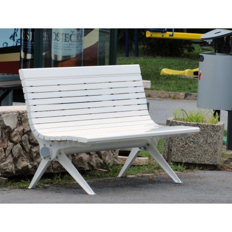 """TYPE 3720 BENCH STEEL – ALUMINUM WITH BACKREST SERIES """"DANUBE"""""""