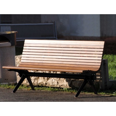 """TYPE 3721 BENCH STEEL – WOOD WITH BACKREST SERIES """"DANUBE"""""""