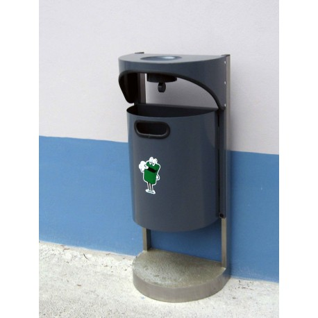 TYPE 2012 TRASH CAN SELFSTANDING SEMI ROUND WITH ASHTRAY