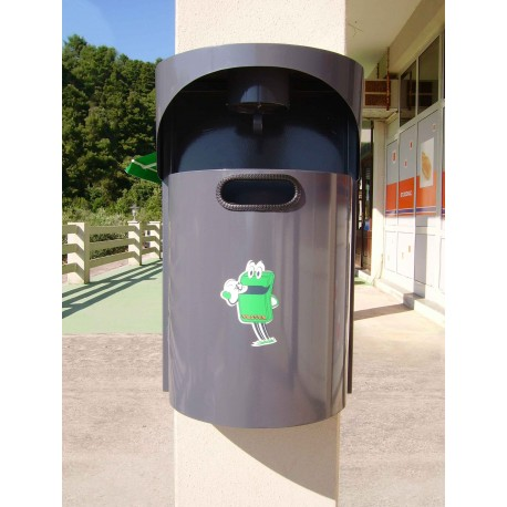 TYPE 2013 TRASH CAN WALL MOUNTED SEMI ROUND WITH ASHTRAY