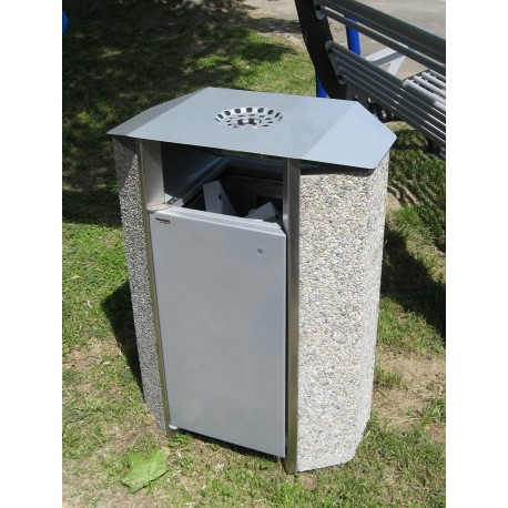 TYPE 2251 TRASH CAN SELF STANDING CONCRETE-STEEL WITH ASHTRAY