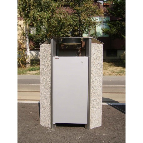 TYPE 2251I TRASH CAN SELF STANDING CONCRETE-STAINLESS STEEL WITH ASHTRAY