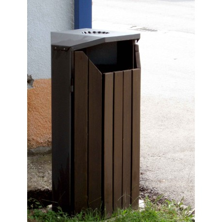 TYPE 2303P TRASH CAN SELF STANDING STEEL-WOOD WITH ASHTRAY