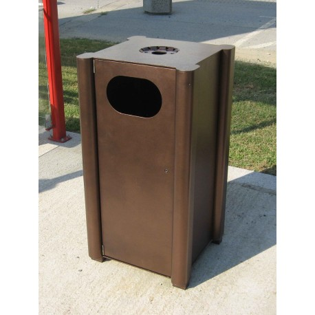 TYPE 2351P TRASH CAN SELF STANDING SQUARE ALUMINUM WITH ASHTRAY