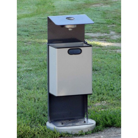 TYPE 2371 TRASH CAN SELF STANDING SQUARE WITH ASHTRAY