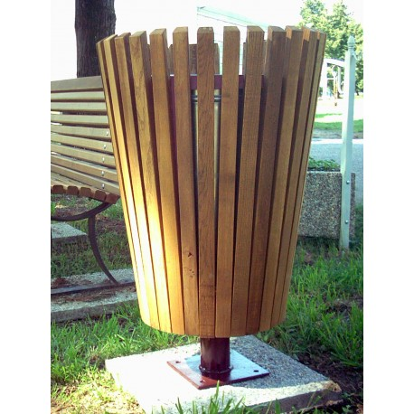 TYPE 2400 TRASH CAN ROUND STEEL – WOOD