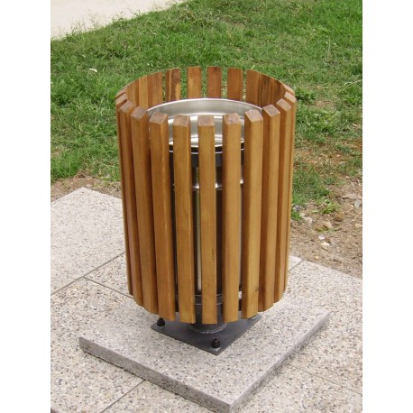 TYPE 2402 TRASH CAN ROUND STEEL – WOOD